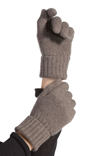 Women's 100% Pure Cashmere Gloves with Ribbed Cuff-Fishers Finery