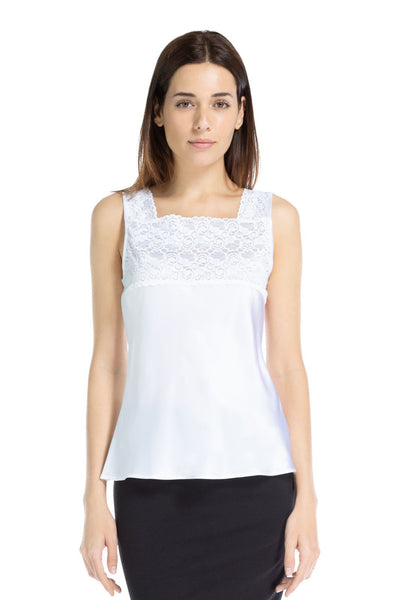 Fishers Finery Women's 100% Pure Mulberry Silk Camisole with Lace Detail