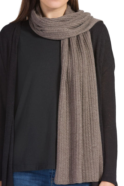 Women's 100% Cashmere Cable Knit Scarf with Gift Box - Fishers Finery