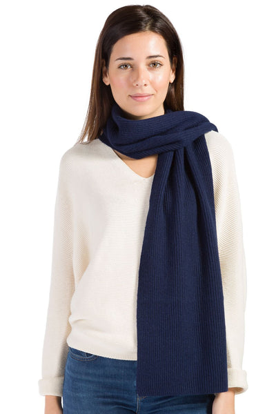 Women's 100% Pure Cashmere Ribbed Knit Scarf with Gift Box - Fishers Finery