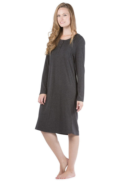 Women's EcoFabric™ Below Knee Henley Nightshirt - Fishers Finery