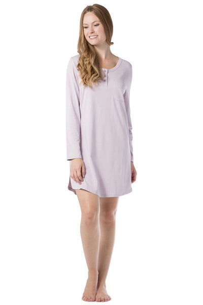 Women's EcoFabric™ Above Knee Henley Nightshirt - Fishers Finery