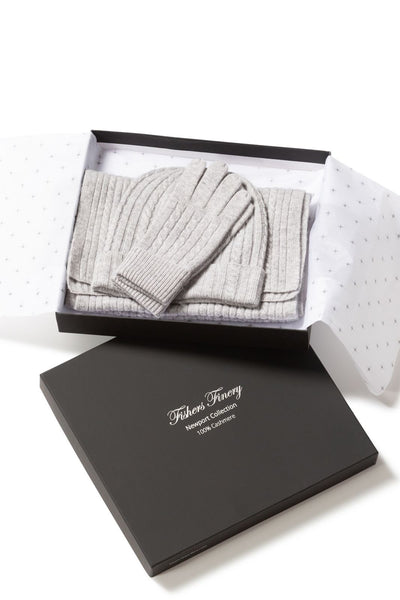 Women's 100% Pure Cashmere 3pc Cable Knit Set with Gift Box - Fishers Finery