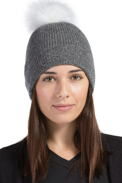 Women's 100% Pure Cashmere Pom Beanie Hat | Fishers Finery