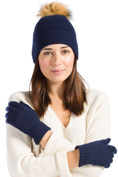 Women's 100% Cashmere 2pc Ribbed Pom Beanie & Glove Set with Gift Box | Fishers Finery