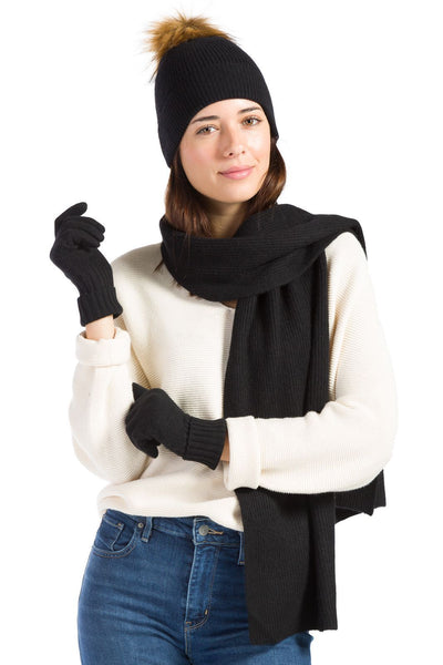 Women's 100% Cashmere 3pc Pom Beanie, Glove & Scarf Set with Gift Box | Fishers Finery