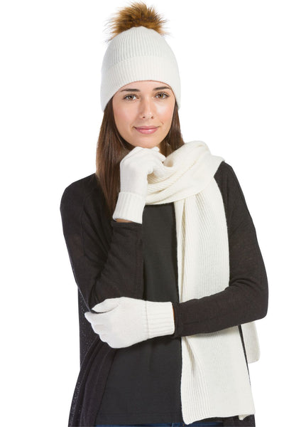 Women's 3pc 100% Cashmere Pom Beanie, Glove & Scarf Set with Gift Box - Fishers Finery