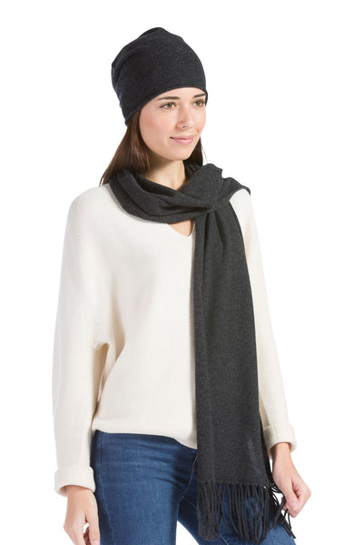 Women's 100% Cashmere 2pc Slouchy Beanie & Knit Scarf Set with Gift Box | Fishers Finery