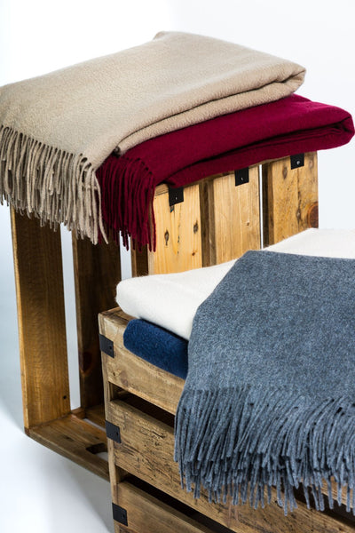 100% Pure Cashmere Fringe Throw Blanket with Gift Box - Fishers Finery