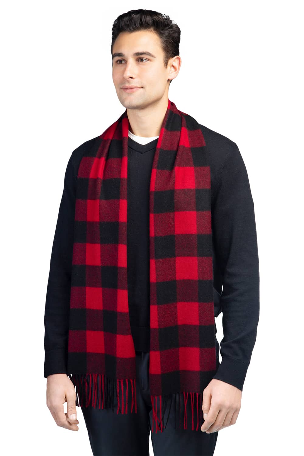 Men's Classic 100% Pure Cashmere Buffalo Plaid Scarf- Fishers Finery