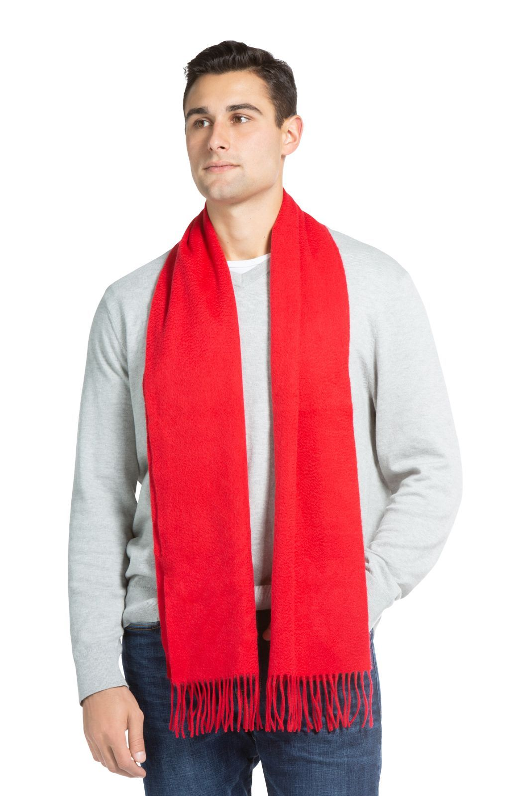 Men's Classic 100% Pure Cashmere Scarf - Red