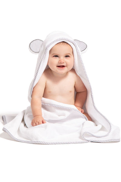 Baby Hooded Bath Towel and Wash Mitten Gift Set | Fishers Finery