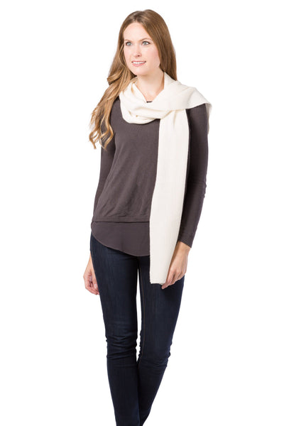 Women's 100% Pure Cashmere Ribbed Knit Scarf with Gift Box