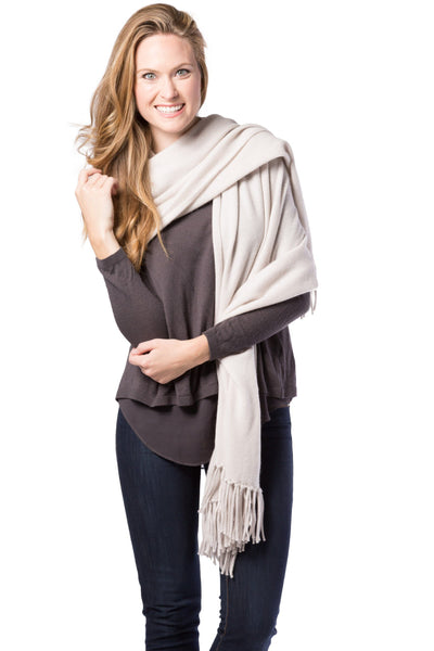 Women's 100% Pure Cashmere Knit Shawl with Fringe and Gift Box