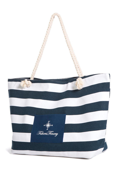 Heavy Canvas Navy Beach Bag - Water Resistant Lining - Fishers Finery
