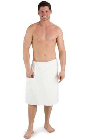 Mens>Sleepwear>Wrap - Mens Spa Towel Wrap Cotton/Bamboo Viscose Fabric