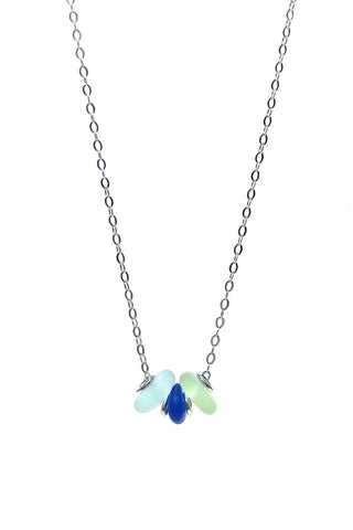 Womens>Accessories>Jewelry - 3 Stone Sea Glass Necklace