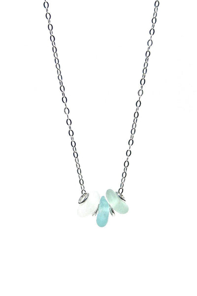 3 Stone Sea Glass Necklace with Gift Box - Fishers Finery
