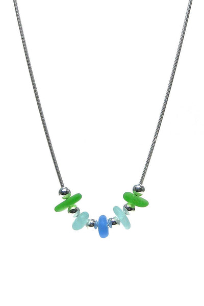 5 Stone Sea Glass Necklace with Gift Box - Fishers Finery