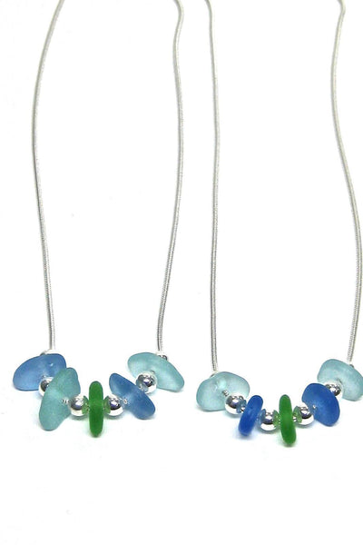 Womens>Accessories>Jewelry - 5 Stone Sea Glass Necklace