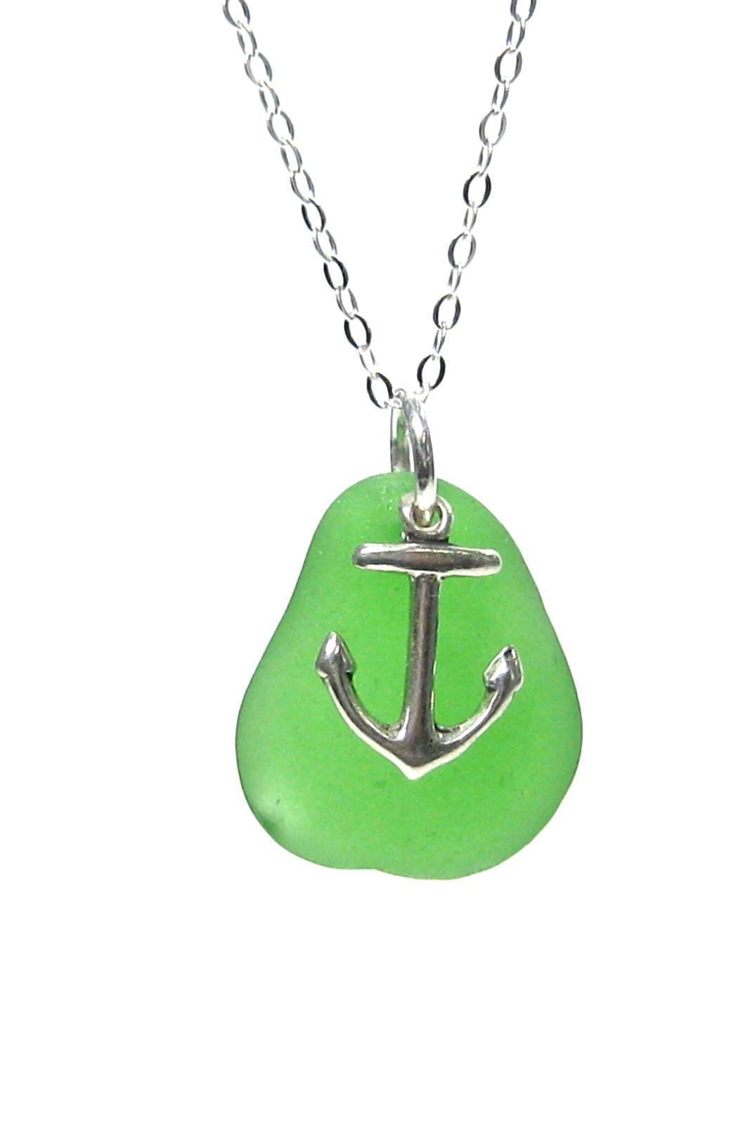 Womens>Accessories>Jewelry - Anchor Charm Sea Glass Necklace