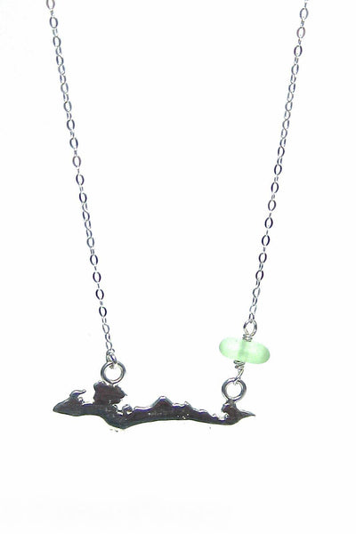 Custom Fishers Island Charm Necklace with Sea Glass Stone with Gift Box - Fishers Finery