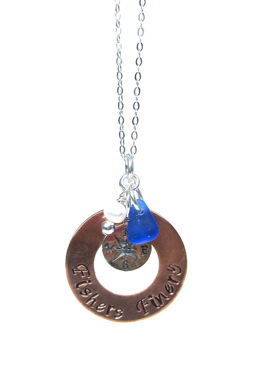 Compass Charm Necklace with Gift Box - Fishers Finery