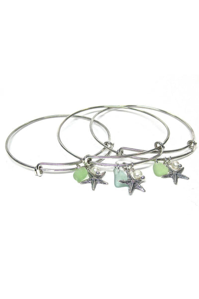 Adjustable Sea Glass Charm Bangle Bracelet with Gift Box - Fishers Finery