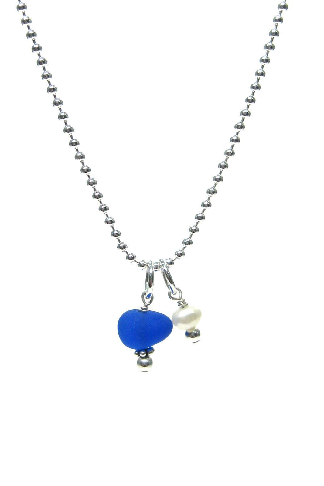 Womens>Accessories>Jewelry - Sea Glass Charm & Pearl Necklace