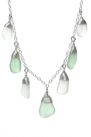 Womens>Accessories>Jewelry - Sea Stone 7 Piece Sea Glass Necklace - Sea Spray