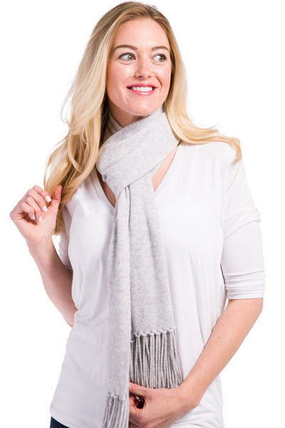 Women's 100% Pure Cashmere Knit Scarf with Fringe and Gift Box - Fishers Finery