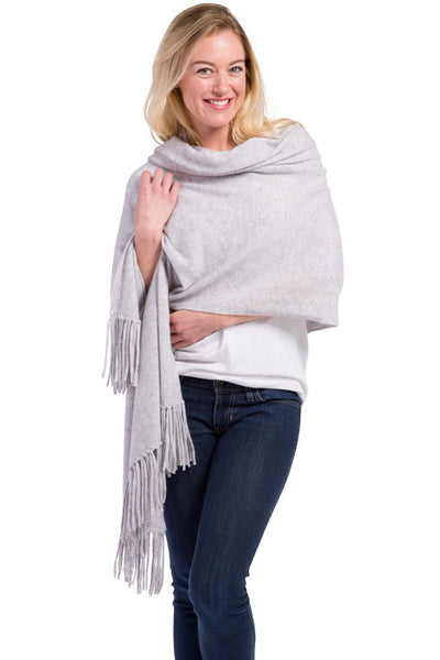 Women's 100% Pure Cashmere Knit Shawl with Fringe and Gift Box - Fishers Finery