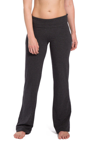 Women's EcoFabric™ Boot Leg Yoga Pant with Fold Over Waistband - Fishers Finery