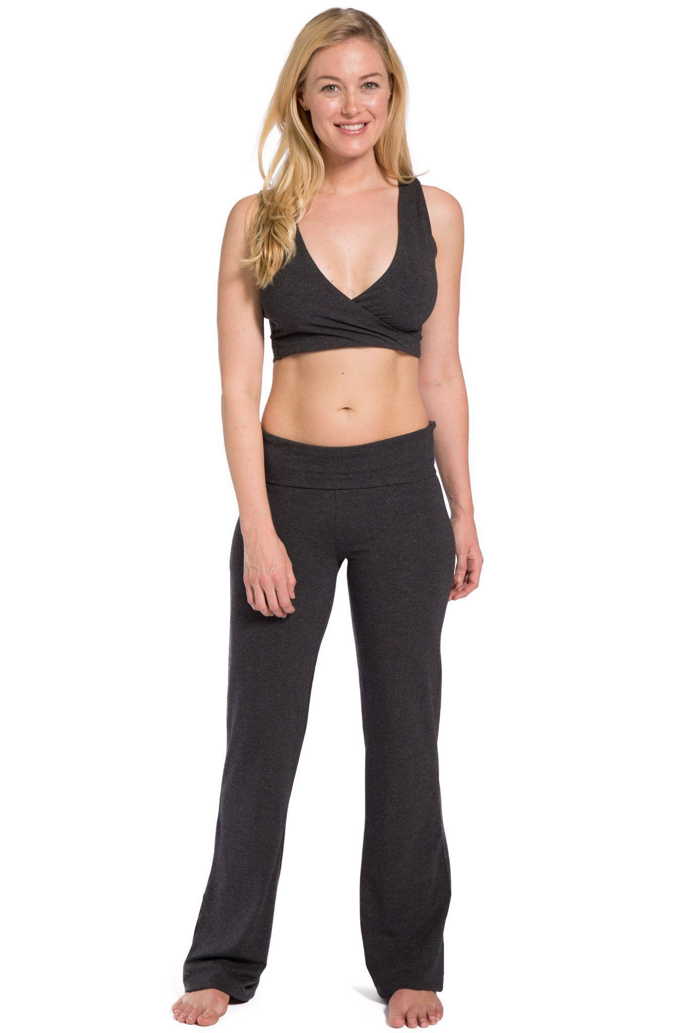 b0fc99d54bf Women s EcoFabric™ Boot Leg Yoga Pant with Fold Over Waistband - Fishers  Finery