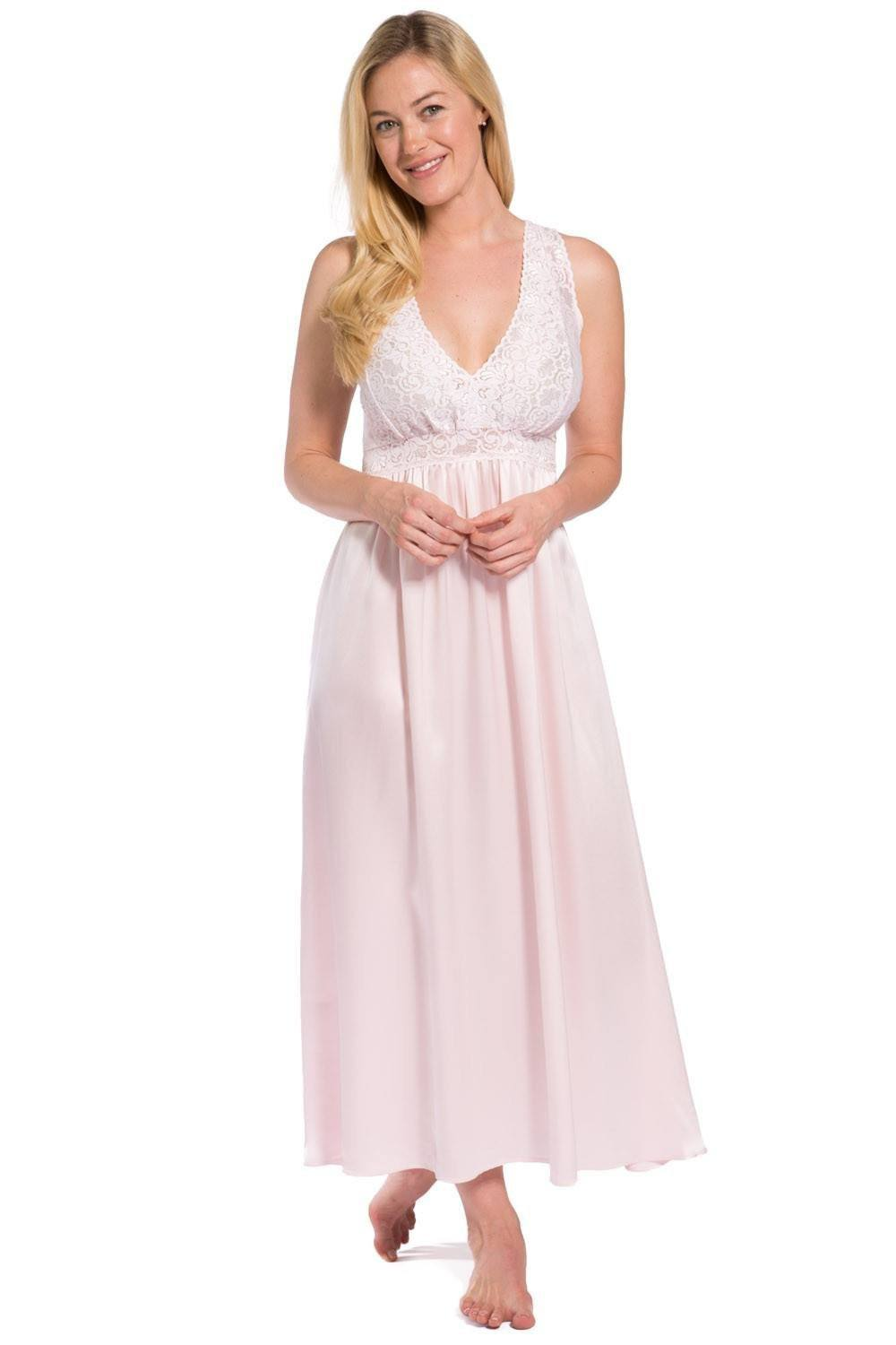 Womens Nightgown | Long Silk Nightgown & Lace Bodice | Fishers Finery