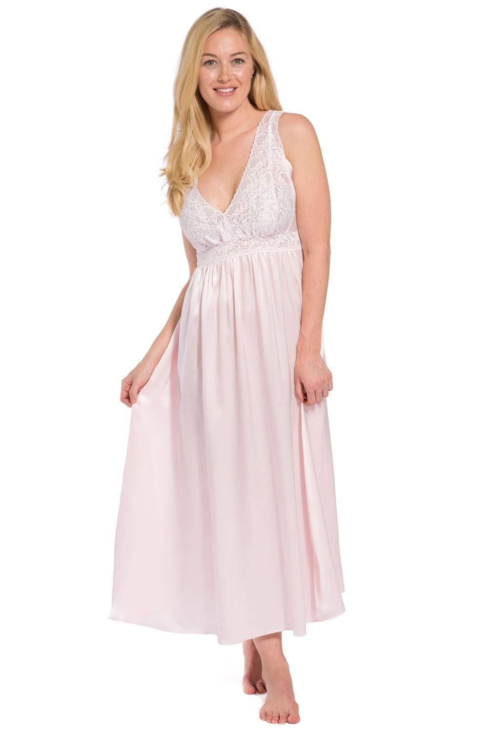 Women s 100% Pure Mulberry Silk Long Nightgown with Lace Bodice - Fishers  Finery df4de7a6d0