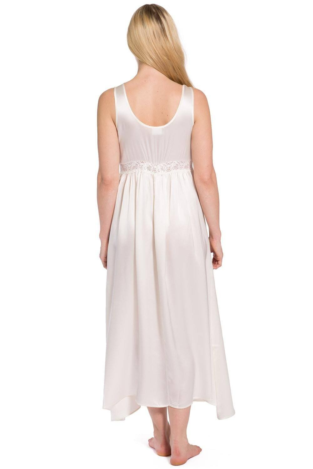 Womens>Sleep And Lounge>Nightgown - Romantique Pure Silk Nightgown With Stunning Lace Bodice- 100% Mulberry Silk Skirt With Stretch Lace