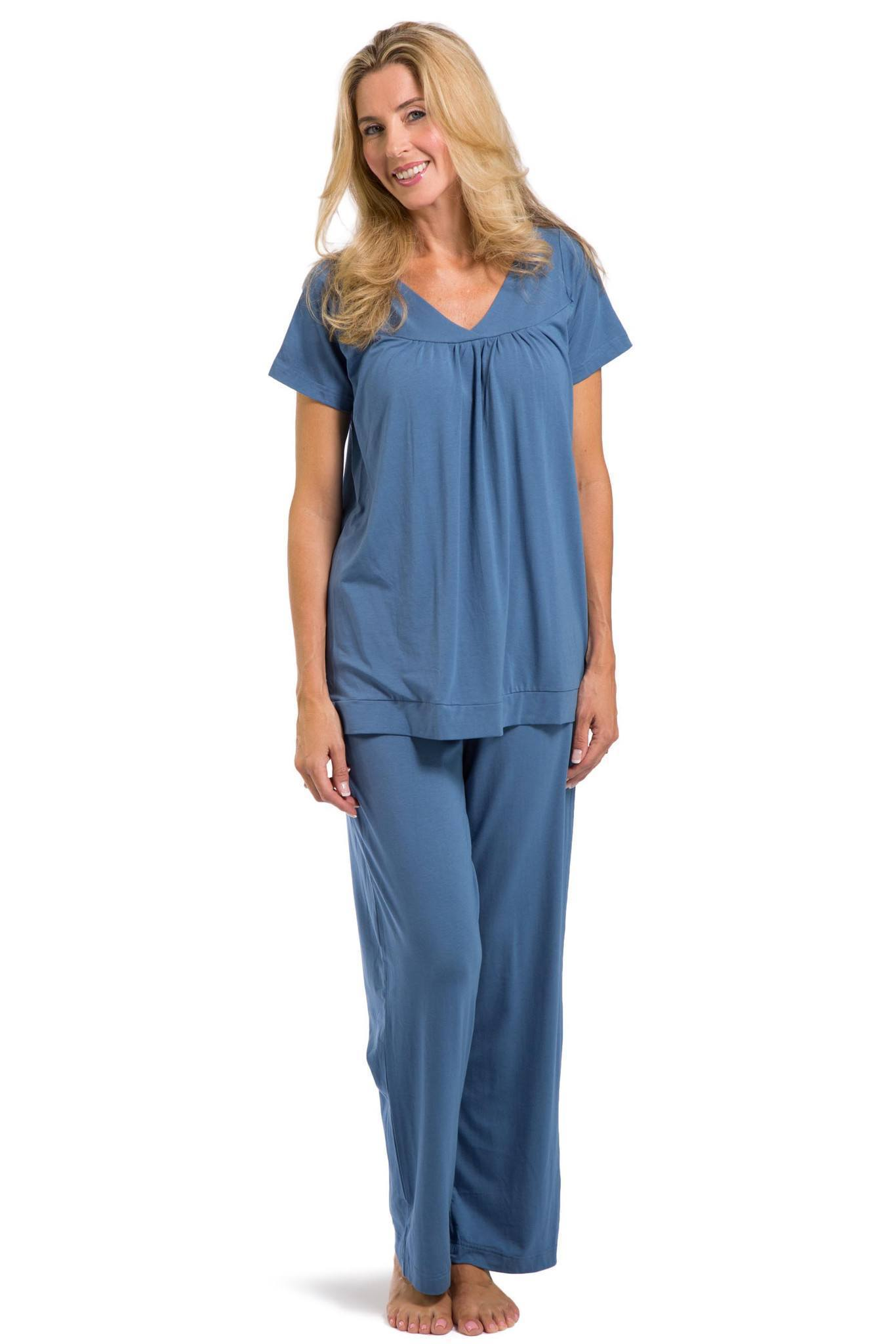 Women S Pajamas Organic Cotton V Neck Pajama Set