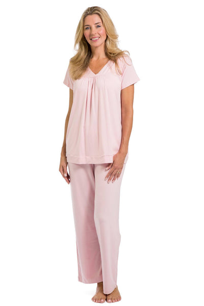 Women's EcoFabric™ Pajama Set with Gift Box- Short Sleeve Top and Full Length Pant - Fishers Finery