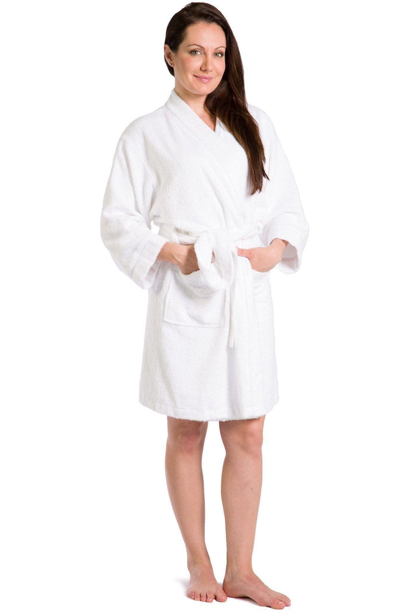 Womens Robes  Terry Cloth Kimono Style Short Robe -2445
