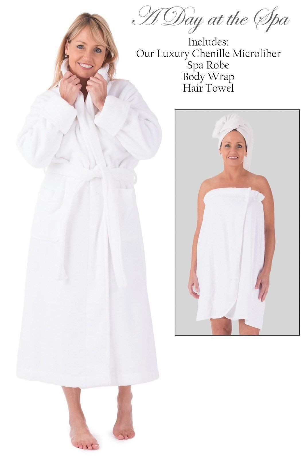 Women's Five Star Spa Package - Terry Cloth Robe, Body Wrap and Hair Towel - Fishers Finery