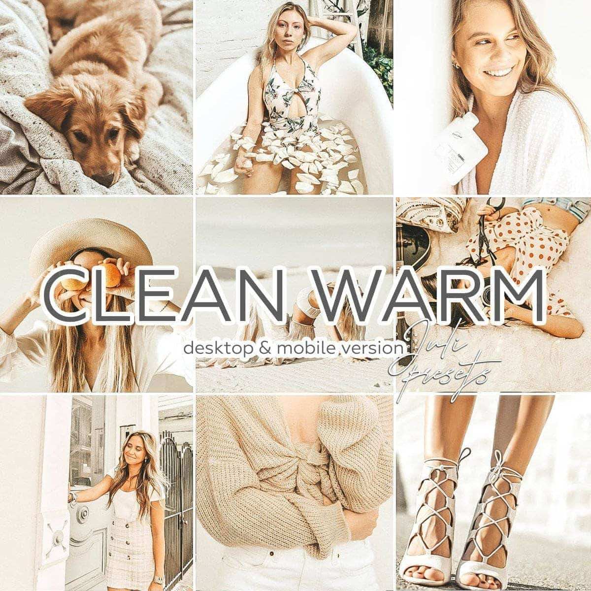 CLEAN WARM - 3 Desktop Lightroom Presets - presetbank