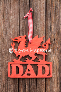 Dad Welsh dragon plaque