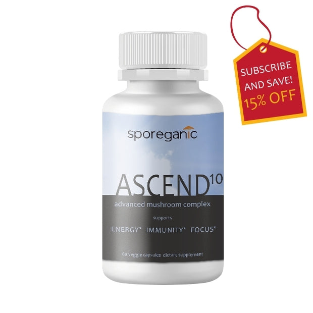 Sporeganic Ascend10 mushroom supplement, strengthen immunity, boost energy, improve mental clarity, improve mental focus, improve brain health, increase vitality, reduce ageing, increase wellness, improve athletic performance, improve sexual health, Vitamin D