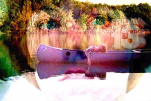 "Alice in her canoe. Friday the 13th's sole survivor & First Final Girl. Back drop of Camp Crystal lake and the famous last shot.. ""then he's still there.."""