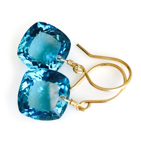 LONDON BLUE TOPAZ CUSHION CUT SOLITAIRE EARRINGS