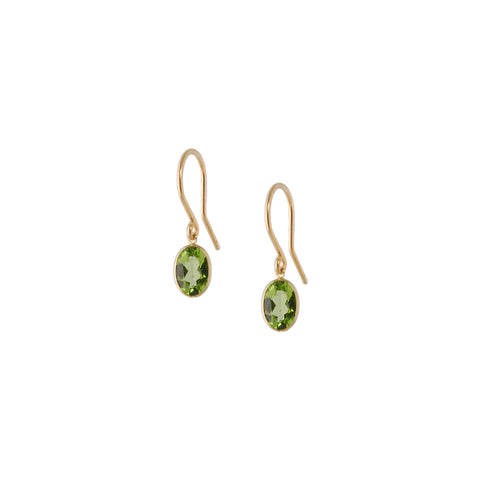 SINGLE STONE BEZEL SET PERIDOT EARRING