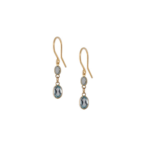SMALL TWO STONE BEZEL SET BLUE TOPAZ EARRING