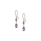 Small Two Stone Bezel Set Amethyst Earrings