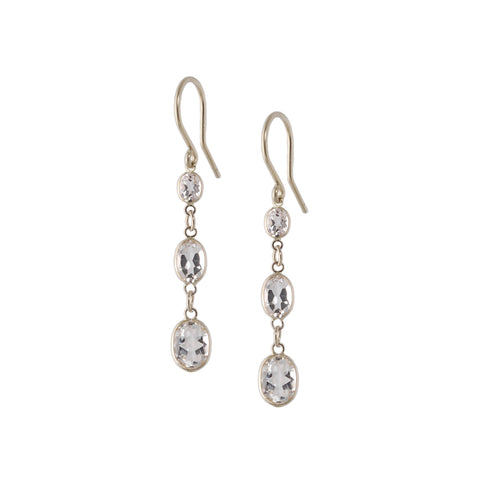 Three Stone Bezel Set White Topaz Earrings